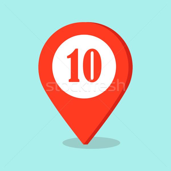 Carte emplacement icône nombre dix signe Photo stock © robuart