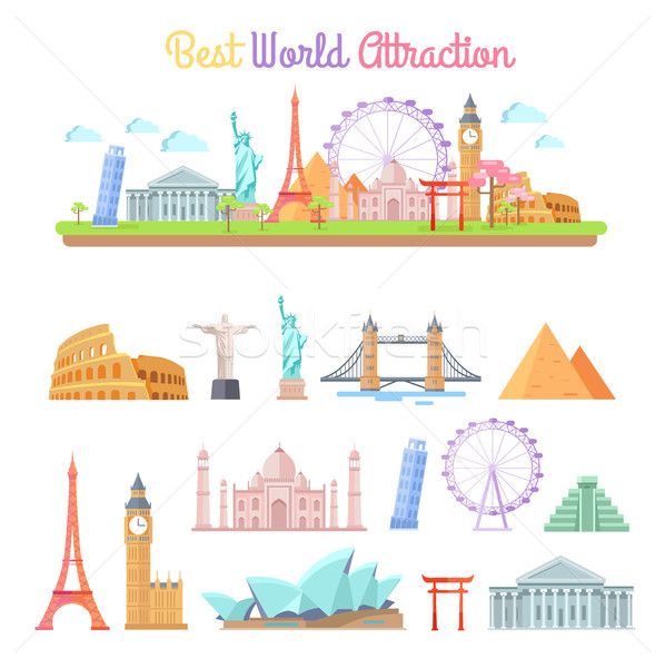 Best World Attractions Cartoon Illustrations Set Stock photo © robuart