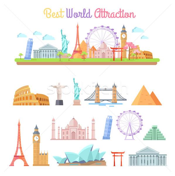 Best World Attractions Cartoon Illustrations Set Stock photo © robuart