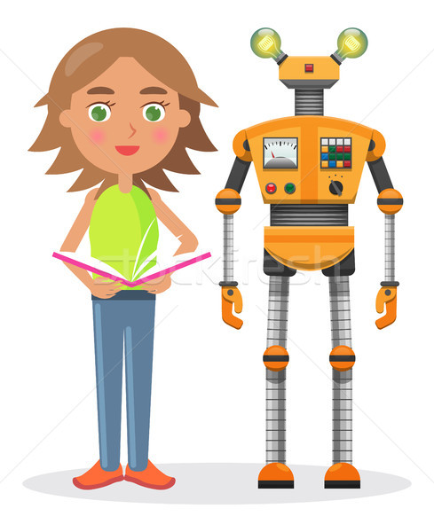 Little Girl with Book and Iron Robot illustration Stock photo © robuart