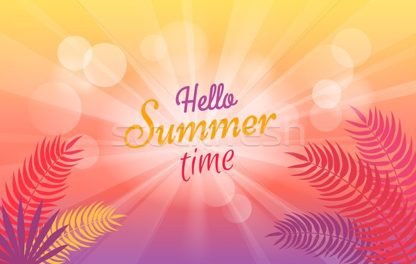 Hello Summer Time Poster with Tropical Trees Stock photo © robuart