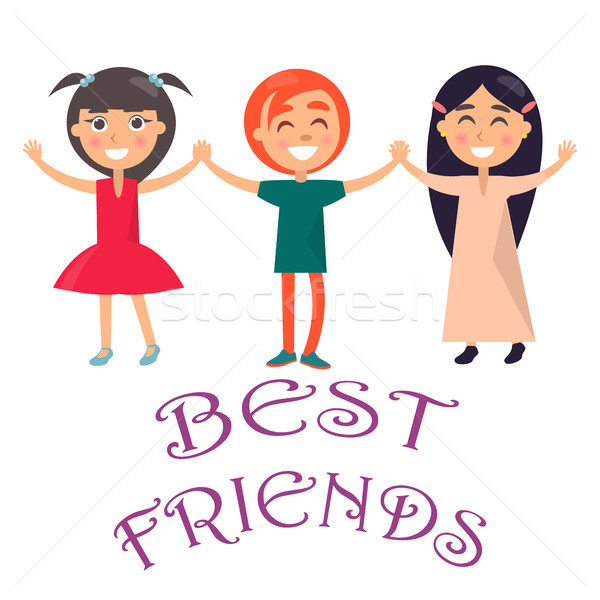 Best Friends Celebrate Holiday for Children Vector Stock photo © robuart