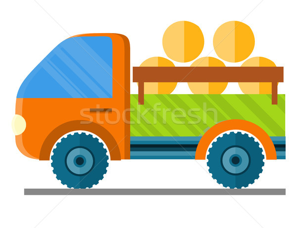 Car Carrying Hay in a Trailer Vector Illustration Stock photo © robuart