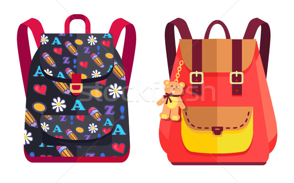 Rucksacks for Girl with Teddy Bear, Color Objects Stock photo © robuart