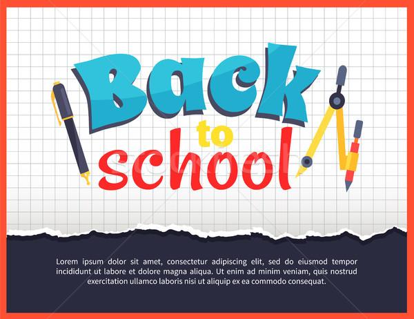 Stock fotó: Vissza · az · iskolába · kockás · poszter · irodaszer · tárgyak · iránytű