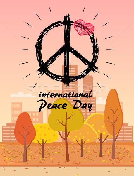 Internacional paz día hippie símbolo logo Foto stock © robuart