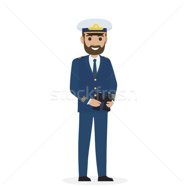 Bearded Captain in Blue Toggery with Binoculars Stock photo © robuart