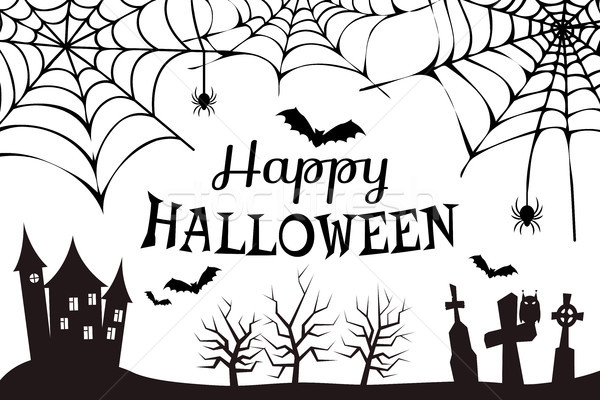Happy Halloween Colorless Vector Illustration Stock photo © robuart