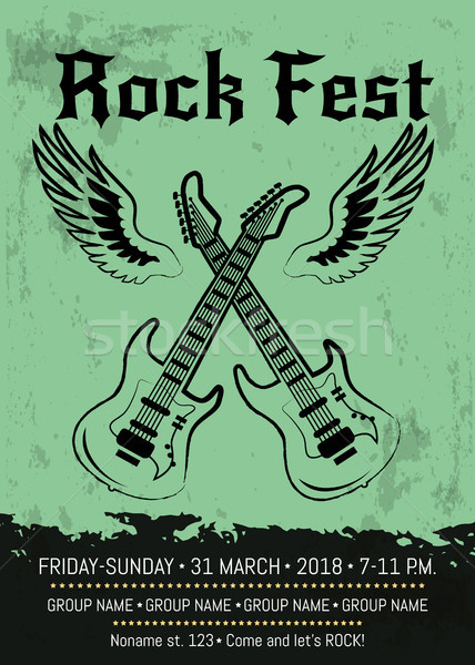 Rock Fest Party Announcement Poster Design Stock photo © robuart