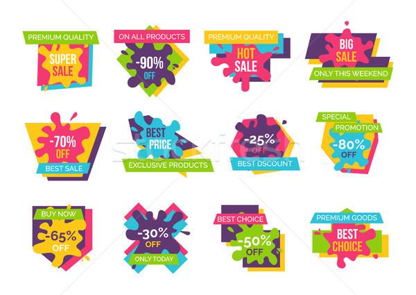 Big Super Sale Up to 90 Promotional Emblems Set Stock photo © robuart