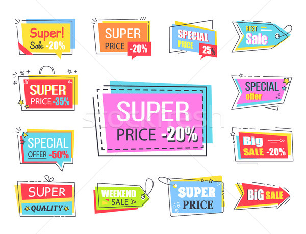 Super Price with 20 Off Promotional Logotypes Stock photo © robuart