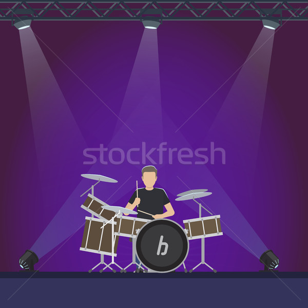 Drummer at Stage with Purple Lights Illustration Stock photo © robuart