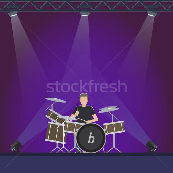 Trommelaar fase paars lichten illustratie muzikant Stockfoto © robuart