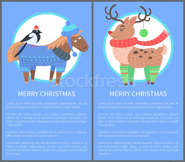 Merry Christmas Postcard with Horse Bullfinch Deer Stock photo © robuart