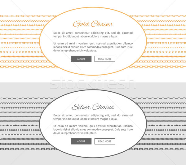 Gold and Silver Chains Samples Vector Illustration Stock photo © robuart