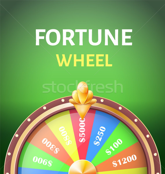 Fortune Wheel Poster with Earnings in 5000 Dollars Stock photo © robuart