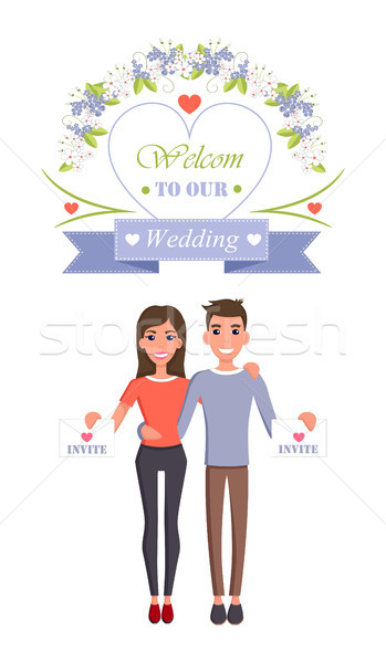 Welcome to Our Wedding Invite Vector Illustration Stock photo © robuart