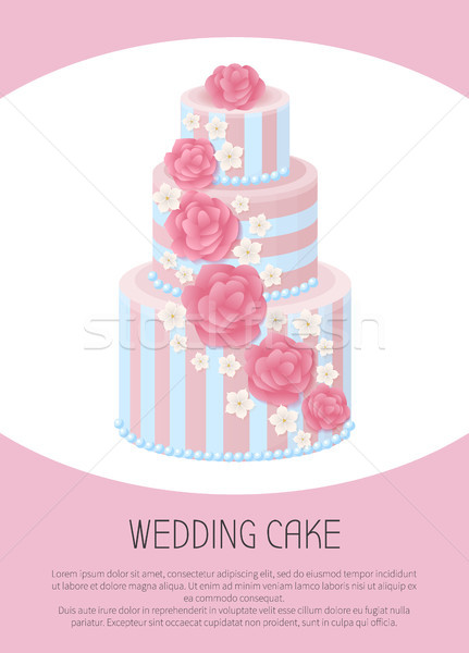 Three-Tier Wedding Cake Decorated with Glaze Roses Stock photo © robuart