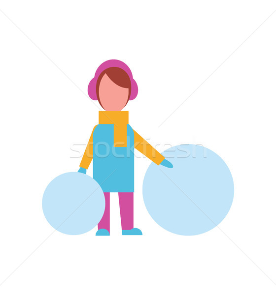 Child with Big Balls of Snow Dressed in Warm Cloth Stock photo © robuart