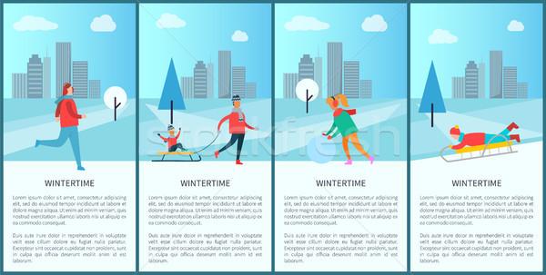 Wintertime People Activities Vector Illustration Stock photo © robuart
