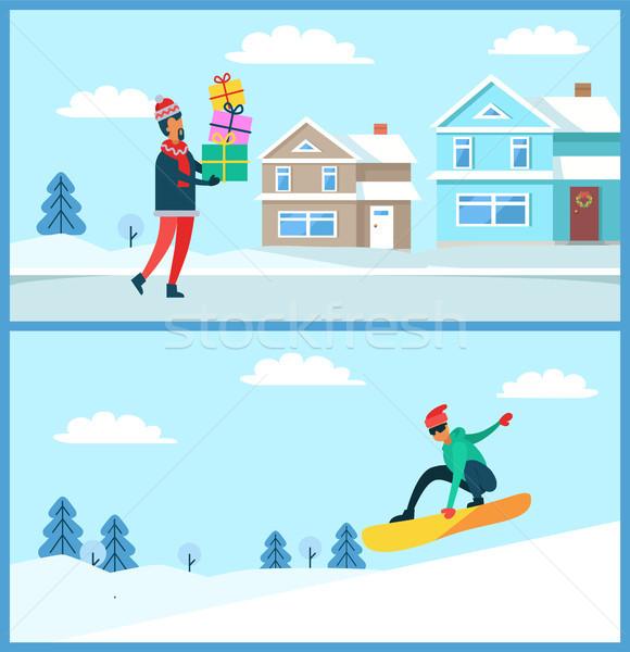 Stockfoto: Man · geschenken · permanente · geschenk · springen