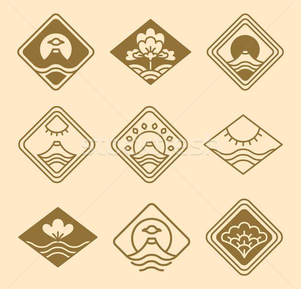 Japans iconen ingesteld zon vulkaan Stockfoto © robuart
