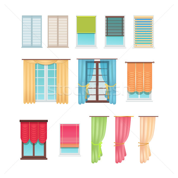 Luxurious Curtains and Practical Jalousies Set Stock photo © robuart