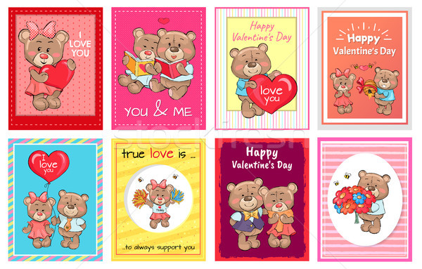 Happy Valentines Day I love you Set of Poster Bear Stock photo © robuart