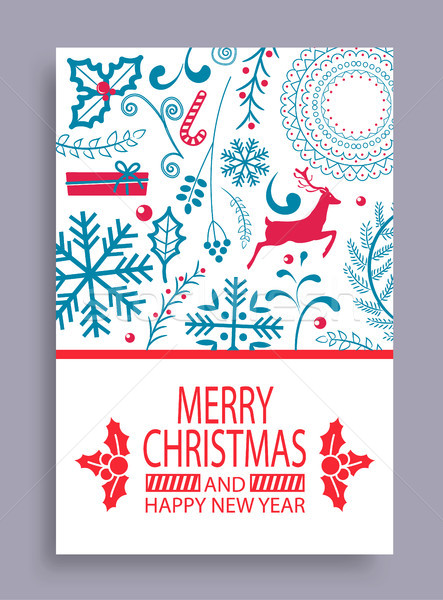 Marry Christmas and Happy New Year Bright Postcard Stock photo © robuart