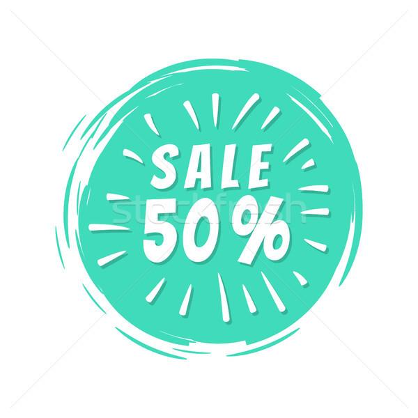Vásár 50 felirat kék festett folt Stock fotó © robuart