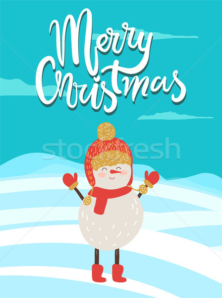 Vidám karácsony poszter gratuláció hóember piros Stock fotó © robuart