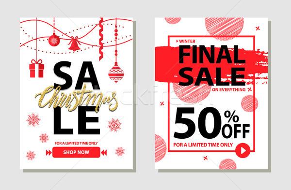 зима окончательный продажи плакатов набор 50 Сток-фото © robuart