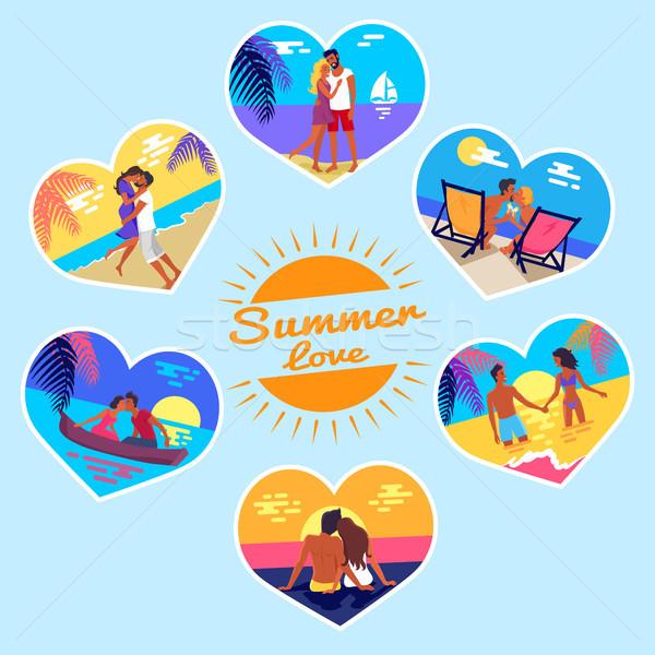 Nyár szeretet emlék fotók párok vakáció Stock fotó © robuart