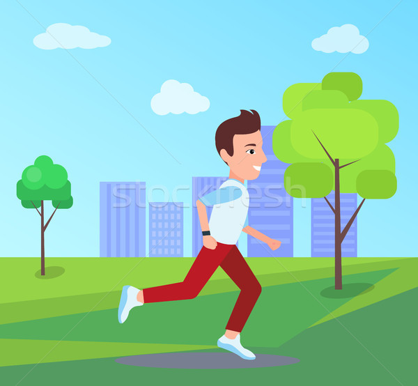 Man Running at Park in Summer Vector Illustration Stock photo © robuart