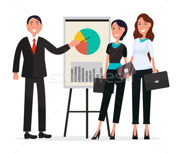 Team of Success People with Diagram on Broadsheet Stock photo © robuart