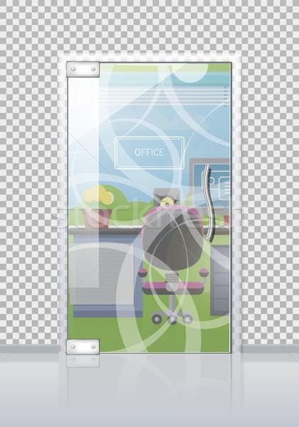 Office Interior Through Glass Door Flat Vector Stock photo © robuart