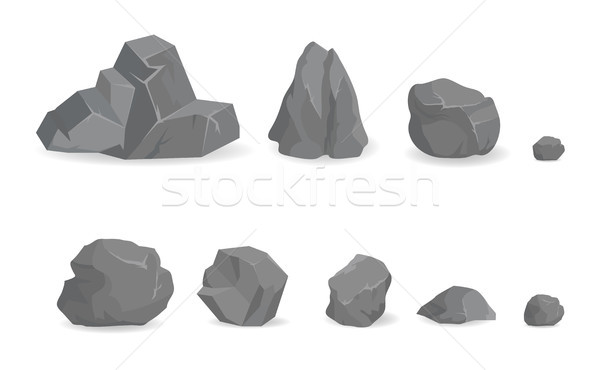 Grey Stone Rocks Collection of Big and Small Gems Stock photo © robuart