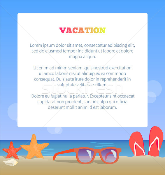 Vacation Poster Add Place Text Sunglasses on Beach Stock photo © robuart