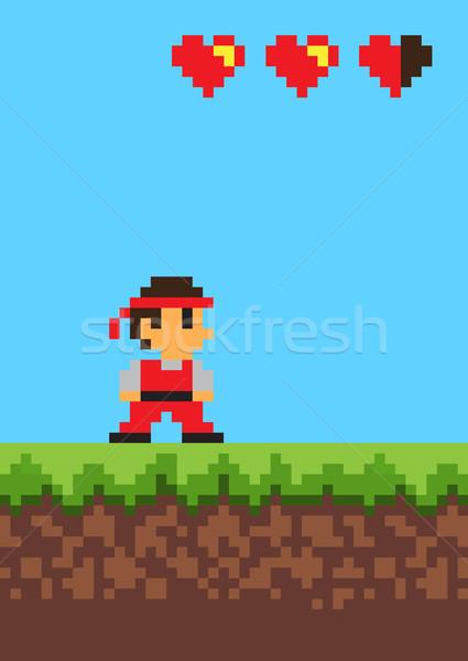 Video Game, Pixel Banner, Vector Illustration Stock photo © robuart