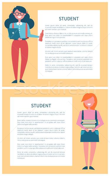 студентов плакат набор место текста кадр Сток-фото © robuart