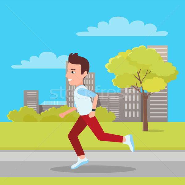 Man Jogging at City Park, Vector Illustration Stock photo © robuart