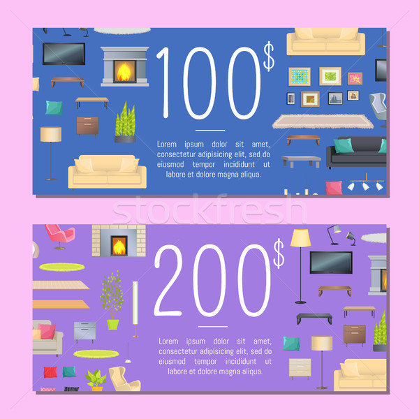 100 and 200 Dollars Coupon Set Vector Illustration Stock photo © robuart