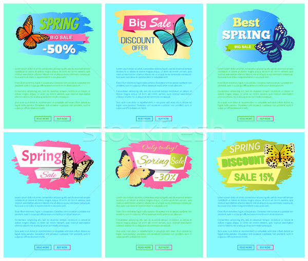 Sale Spring Discount Label Online Poster Butterfly Stock photo © robuart