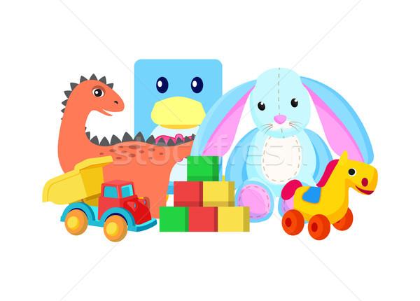 Dinosaur and Rabbit Toys Vector Illustration Stock photo © robuart