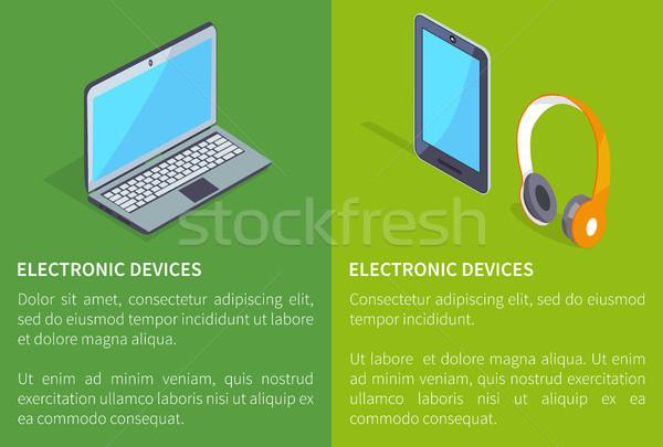 Elektronischen Geräte Laptop Kopfhörer Tablet Wireless Stock foto © robuart