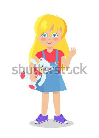 Blonde Doll Like Blonde Girl Teddy Bear Vector Stock photo © robuart