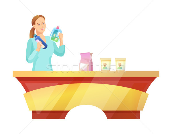Woman at Pet Shop Buying Food Vector Illustration Stock photo © robuart