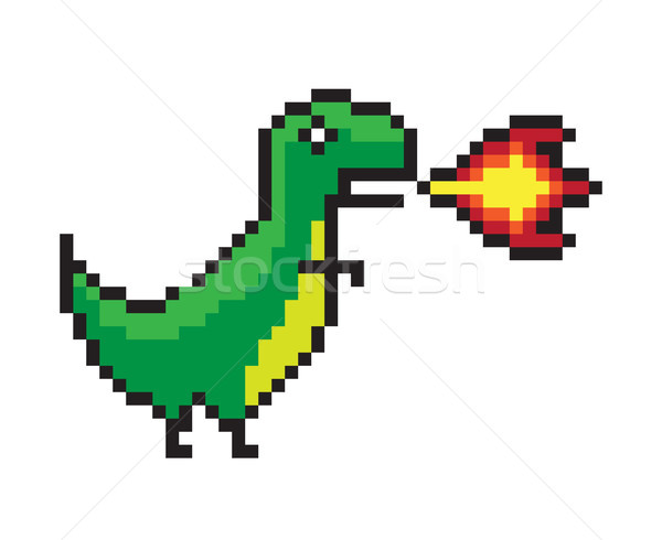 Danger Dinosaur Making a Flame, Color Pixel Banner Stock photo © robuart
