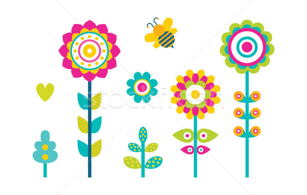 Abstract Spring Fowers Blooming Buds Simple Shapes Stock photo © robuart