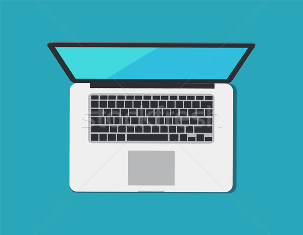 Laptop and Keyboard Blue, Vector Illustration Stock photo © robuart